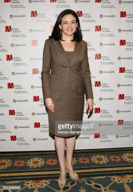 Sheryl Sandberg Chief Operating Officer Facebook attends the 2011 Matrix Awards at The Waldorf Astoria on April 11 2011 in New York City
