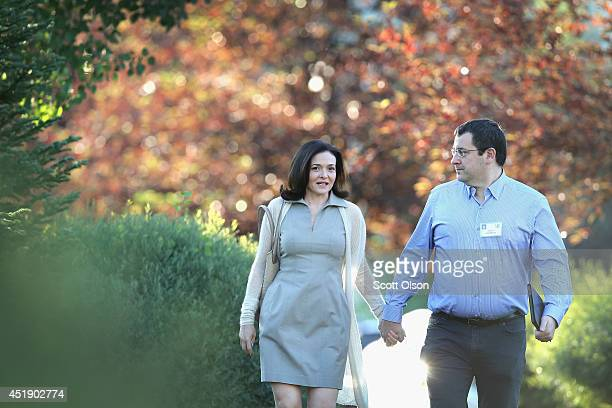 Sheryl Sandberg chief operating officer of Facebook and her husband David Goldberg CEO of SurveyMonkey attend the Allen Company Sun Valley Conference...