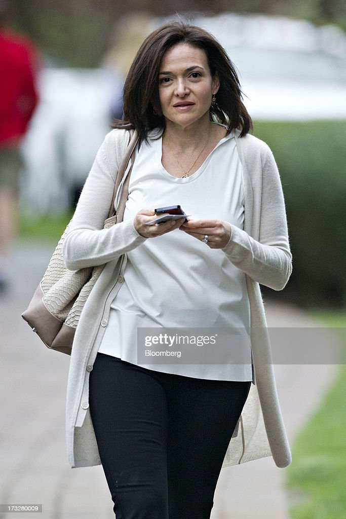Sheryl Sandberg, chief operating officer of Facebook Inc., arrives for a morning session during the Allen & Co. Media and Technology Conference in Sun Valley, Idaho, U.S., on Thursday, July 11, 2013. Executives from media, finance and politics mingle at the mountain resort between presentations on business trends and social issues, brought together by New York investment banker Herb Allen. Photographer: Daniel Acker/Bloomberg via Getty Images