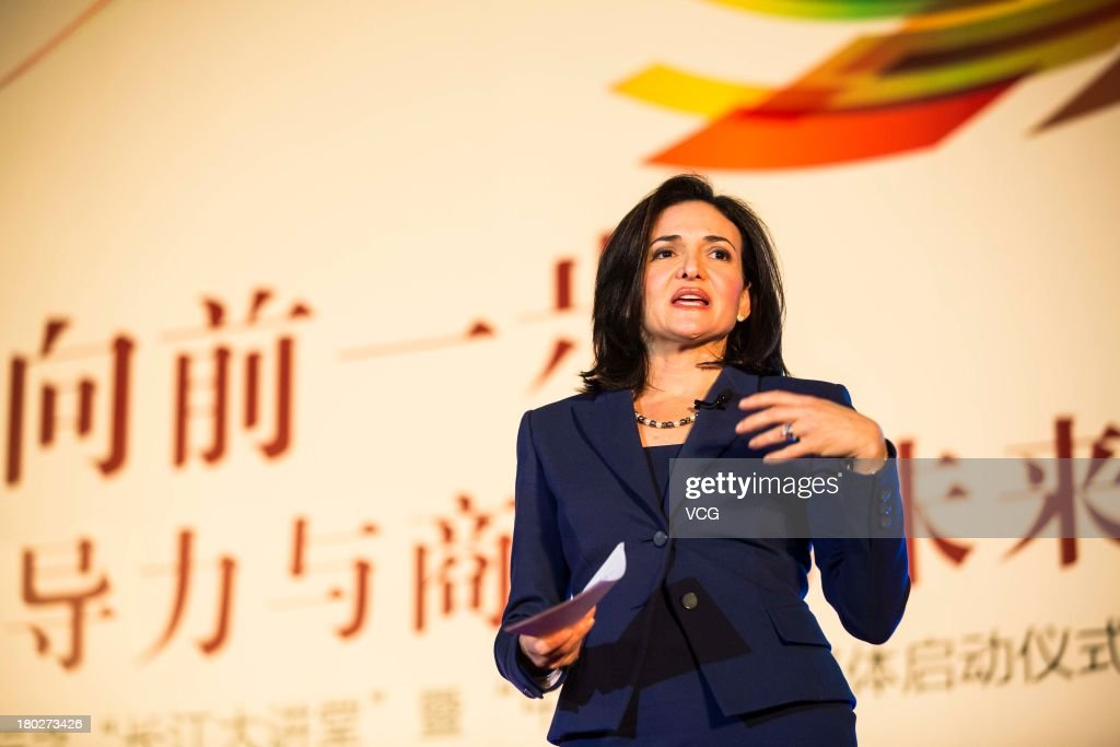 <a gi-track='captionPersonalityLinkClicked' href=/galleries/search?phrase=Sheryl+Sandberg&family=editorial&specificpeople=5922850 ng-click='$event.stopPropagation()'>Sheryl Sandberg</a>, chief operating officer of Facebook Inc., delivers a lecture during a dialogue co-sponsored by the Cheung Kong Graduate School of Business (CKGSB) and China CITIC Press to promote her book 'Lean In: Women, Work, and the Will to Lead' at Grand Hyatt Hotel on September 10, 2013 in Beijing, China.