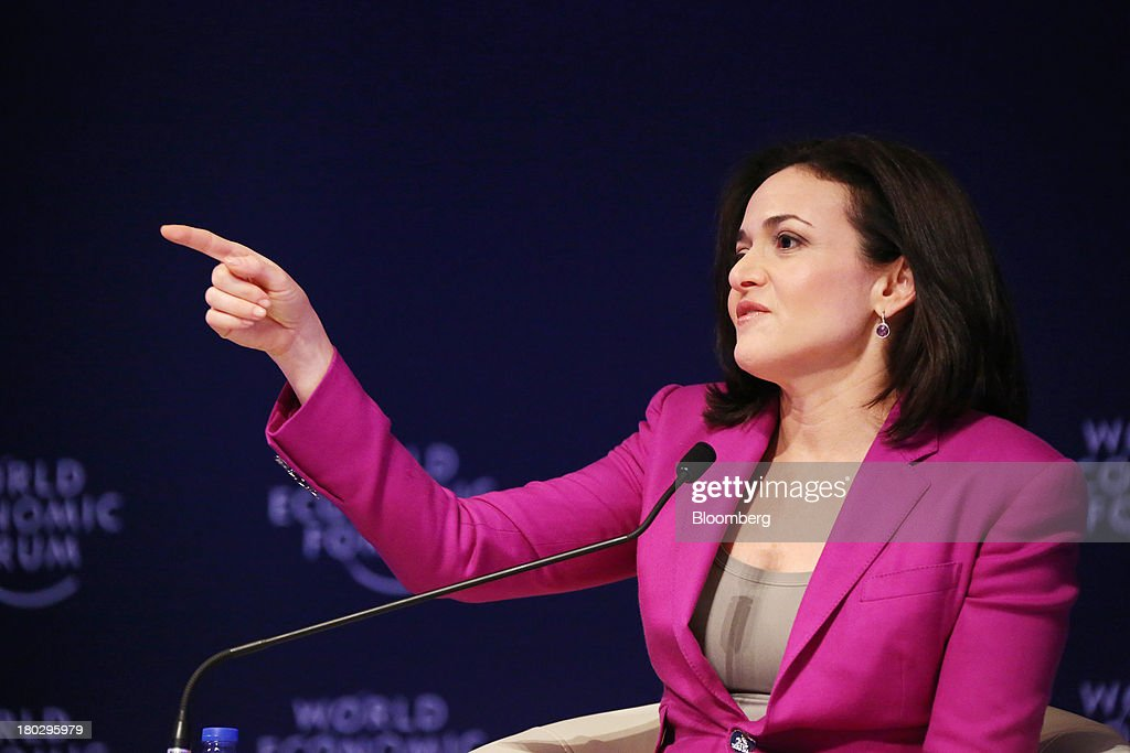 <a gi-track='captionPersonalityLinkClicked' href=/galleries/search?phrase=Sheryl+Sandberg&family=editorial&specificpeople=5922850 ng-click='$event.stopPropagation()'>Sheryl Sandberg</a>, chief operating officer of Facebook Inc., gestures as she speaks during the World Economic Forum Annual Meeting Of The New Champions in Dalian, China, on Wednesday, Sept. 11, 2013. Sandberg met with the government agency that oversees controls on the Internet in China, where access to the company's social networking website is blocked. Photographer: Tomohiro Ohsumi/Bloomberg via Getty Images