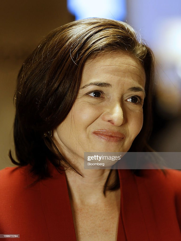 Sheryl Sandberg, chief operating officer of Facebook Inc., pauses during a television interview on day two of the World Economic Forum (WEF) in Davos, Switzerland, on Thursday, Jan. 24, 2013. World leaders, influential executives, bankers and policy makers attend the 43rd annual meeting of the World Economic Forum in Davos, the five day event runs from Jan. 23-27. Photographer: Simon Dawson/Bloomberg via Getty Images