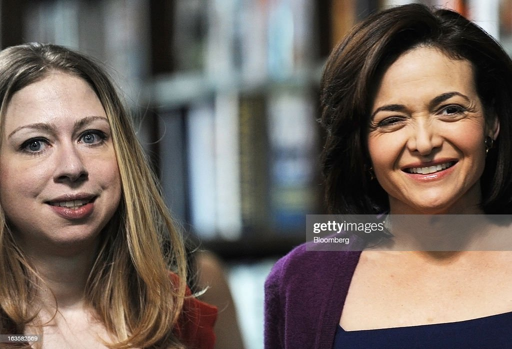 <a gi-track='captionPersonalityLinkClicked' href=/galleries/search?phrase=Sheryl+Sandberg&family=editorial&specificpeople=5922850 ng-click='$event.stopPropagation()'>Sheryl Sandberg</a>, chief operating officer of Facebook Inc., right, and <a gi-track='captionPersonalityLinkClicked' href=/galleries/search?phrase=Chelsea+Clinton&family=editorial&specificpeople=119698 ng-click='$event.stopPropagation()'>Chelsea Clinton</a>, daughter of former U.S. President Bill Clinton, arrive at a Barnes & Noble Inc. store to promote Sandberg's new book 'Lean In' in New York, U.S., on Tuesday, March 12, 2013. Sandberg's book, released on March 11, advises women to get over their ambivalence about being ambitious, think big and take risks. Photographer: Peter Foley/Bloomberg via Getty Images