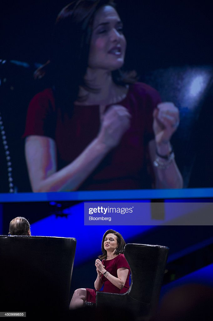 <a gi-track='captionPersonalityLinkClicked' href=/galleries/search?phrase=Sheryl+Sandberg&family=editorial&specificpeople=5922850 ng-click='$event.stopPropagation()'>Sheryl Sandberg</a>, chief operating officer of Facebook Inc., right, speaks with <a gi-track='captionPersonalityLinkClicked' href=/galleries/search?phrase=Marc+Benioff&family=editorial&specificpeople=6871116 ng-click='$event.stopPropagation()'>Marc Benioff</a>, chairman and chief executive officer of Salesforce.com Inc., during the DreamForce Conference in San Francisco, California, U.S., on Wednesday, Nov. 20, 2013. Salesforce.com Inc. introduced an overhauled version of its mobile software, seeking to ensure clients and partners will be able to use more features of the company's sales, marketing and customer service software. Photographer: David Paul Morris/Bloomberg via Getty Images