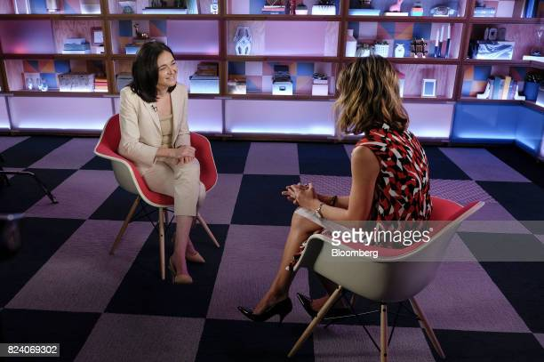 Sheryl Sandberg chief operating officer of Facebook Inc smiles during a Bloomberg Studio 10 television interview at Facebook headquarters in Menlo...