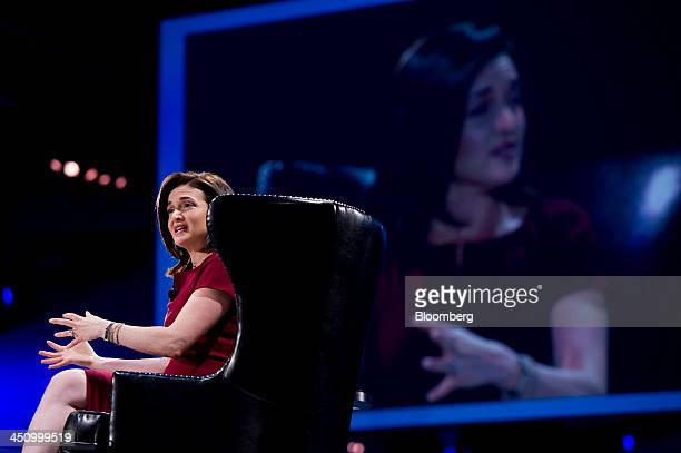 Sheryl Sandberg chief operating officer of Facebook Inc speaks during the DreamForce Conference in San Francisco California US on Wednesday Nov 20...