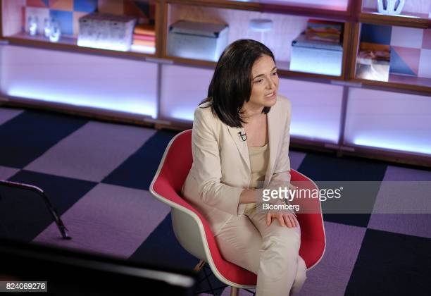 Sheryl Sandberg chief operating officer of Facebook Inc speaks during a Bloomberg Studio 10 television interview at Facebook headquarters in Menlo...