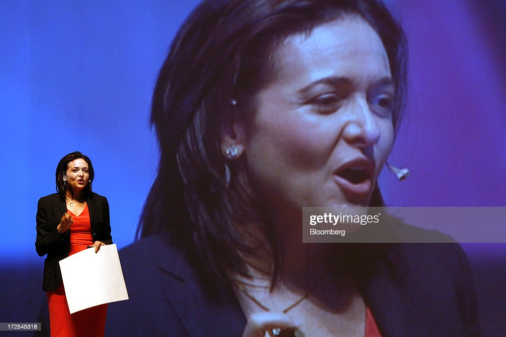 <a gi-track='captionPersonalityLinkClicked' href=/galleries/search?phrase=Sheryl+Sandberg&family=editorial&specificpeople=5922850 ng-click='$event.stopPropagation()'>Sheryl Sandberg</a>, chief operating officer of Facebook Inc., speaks to the audience while on stage at Yonsei University in Seoul, South Korea, on Wednesday, July 3, 2013. Sandberg is in South Korea to promote her book 'Lean In: Women, Work, and the Will to Lead.' Photographer: Woohae Cho/Bloomberg via Getty Images