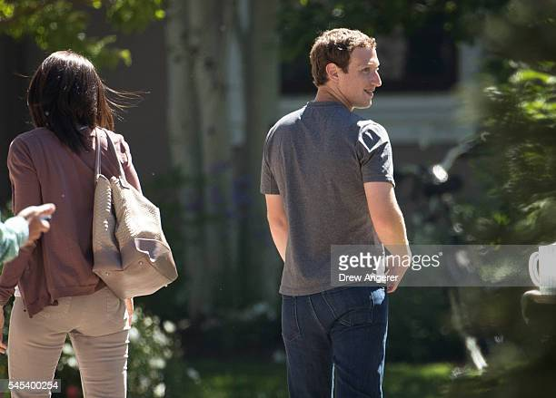 Sheryl Sandberg chief operating officer of Facebook Incand Mark Zuckerberg chief executive officer and cofounder of Facebook Inc attend the annual...