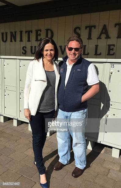 Sheryl Sandberg COO of Facebook and Bobby Kotick CEO of Activision Blizzard seen outside the post office on July 5 2016 in Sun Valley Idaho