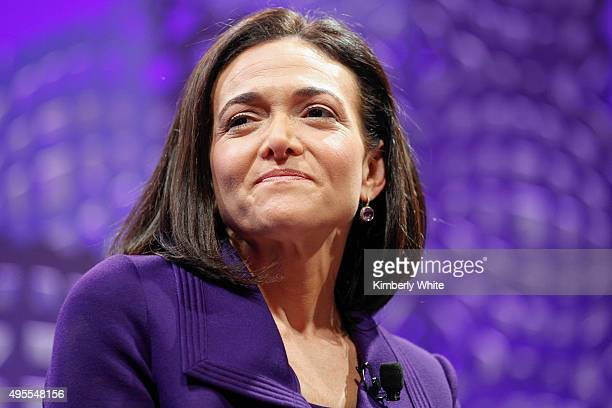 Sheryl Sandberg on a panel at the Fortune Global Forum Day2 at the Fairmont Hotel on November 3 2015 in San Francisco California