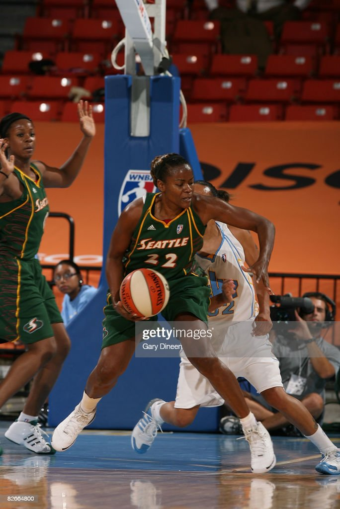 Sheryl Swoopes of the Seattle Storm posts up while defended by KB Sharp of the Chicago Sky during the WNBA game on September 4 2008 at the UIC...