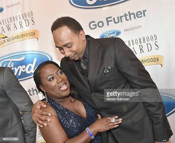 Sheryl Underwood and Stephen A Smith attend the 2015 Ford Neighborhood Awards Hosted By Steve Harvey at Phillips Arena on August 8 2015 in Atlanta...