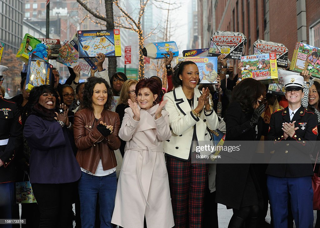 Sheryl Underwood, Sara Gilbert, Sharon Osborne, Aisha Tyler and Julie Chen visit 'The Talk' at CBS Studios on December 10, 2012 in New York City.