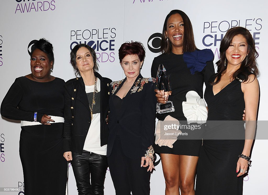 Sheryl Underwood, Sara Gilbert, Sharon Osbourne, Aisha Tyler and Julie Chen, winners of Favorite Daytime Talk Show Hosting Team for 'The Talk', pose in the press room at the 2016 People's Choice Awards at Microsoft Theater on January 6, 2016 in Los Angeles, California.