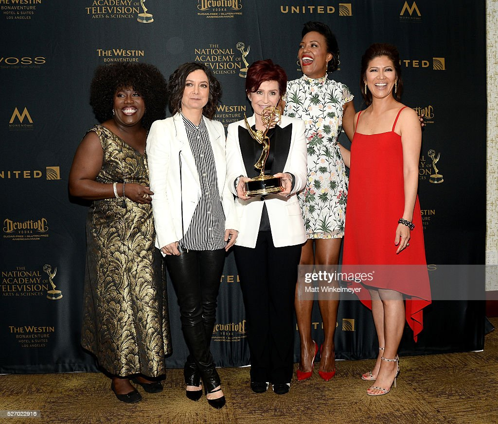 <a gi-track='captionPersonalityLinkClicked' href=/galleries/search?phrase=Sheryl+Underwood&family=editorial&specificpeople=778885 ng-click='$event.stopPropagation()'>Sheryl Underwood</a>, <a gi-track='captionPersonalityLinkClicked' href=/galleries/search?phrase=Sara+Gilbert&family=editorial&specificpeople=585732 ng-click='$event.stopPropagation()'>Sara Gilbert</a>, <a gi-track='captionPersonalityLinkClicked' href=/galleries/search?phrase=Sharon+Osbourne&family=editorial&specificpeople=203094 ng-click='$event.stopPropagation()'>Sharon Osbourne</a>, <a gi-track='captionPersonalityLinkClicked' href=/galleries/search?phrase=Aisha+Tyler&family=editorial&specificpeople=202262 ng-click='$event.stopPropagation()'>Aisha Tyler</a>, and <a gi-track='captionPersonalityLinkClicked' href=/galleries/search?phrase=Julie+Chen&family=editorial&specificpeople=206213 ng-click='$event.stopPropagation()'>Julie Chen</a> pose in the press room at the 43rd Annual Daytime Emmy Awards at the Westin Bonaventure Hotel on May 1, 2016 in Los Angeles, California.