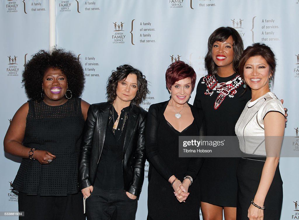Sheryl Underwood, Sara Gilbert, Sharon Osbourne, Aisha Tyler and Julie Chen attend the Jewish Family Service of Los Angeles 23rd Annual Gala Dinner at The Beverly Hilton Hotel on May 23, 2016 in Beverly Hills, California.