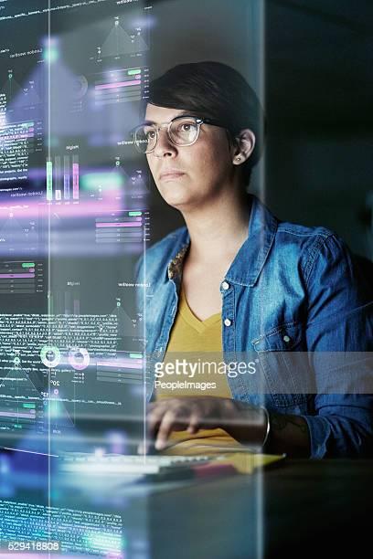 Ela está a desenvolver avançado código