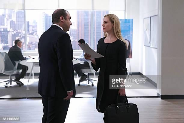 SUITS 'She's Gone' Episode 611 Pictured Rick Hoffman as Louis Litt Amanda Schull as Katrina Bennett