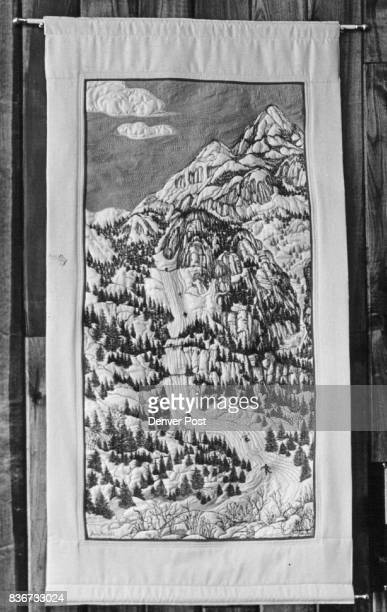 She's Sew Busy This quilted fabric wall hanging Colorado ski scene was done by Jane Howell Mrs Howell who moved to Boulder from Miami in 1969 sits...