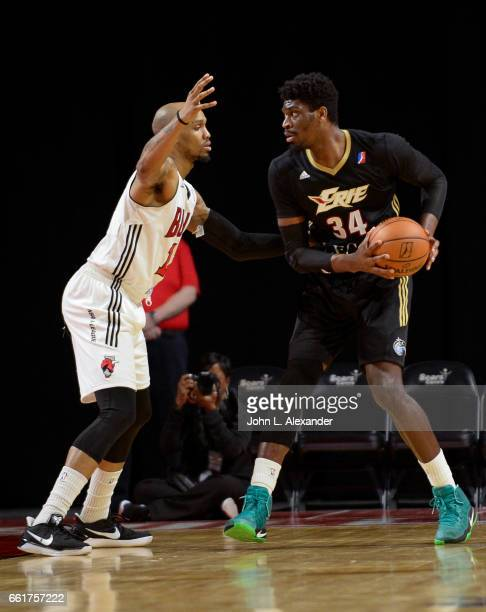 Shevon Thompson of the Erie BayHawks dribbles the ball against the Windy City Bulls on March 28 2017 at the Sears Centre Arena in Hoffman Estates...