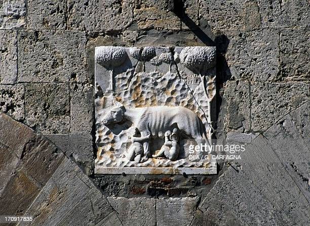 SheWolf of Siena coat of arms on the Town Hall Massa Marittima Tuscany Italy