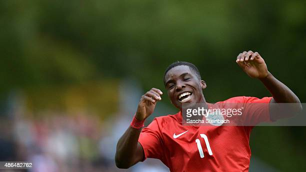 Sheyi Ojo of England celebrates after scoring the opening goal during the U19 international friendly match between Germany and England on September 4...