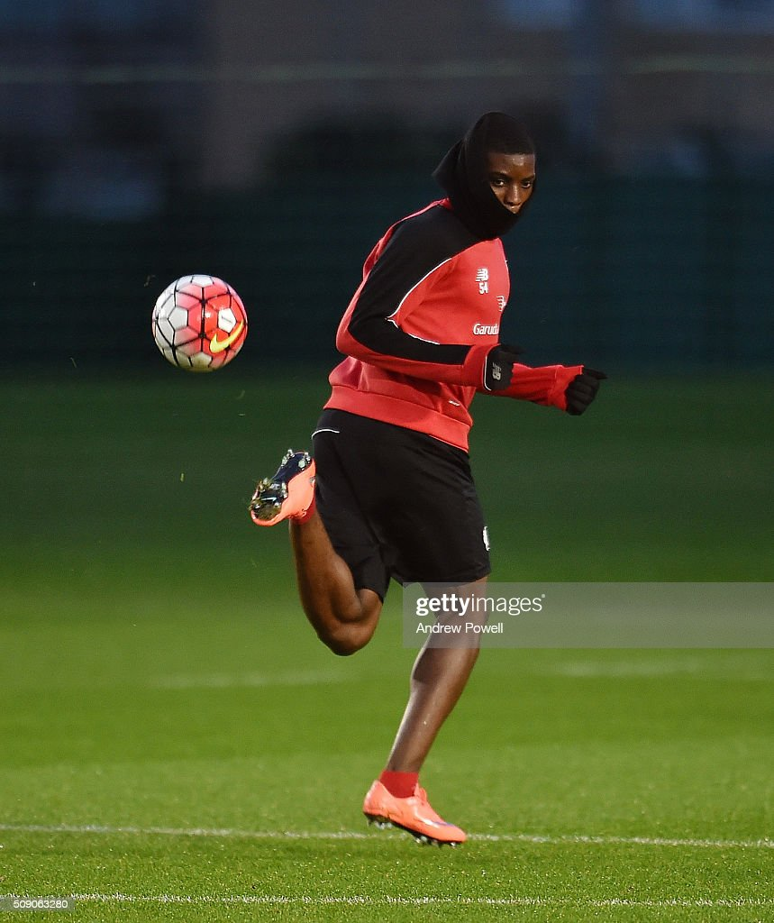 <a gi-track='captionPersonalityLinkClicked' href=/galleries/search?phrase=Sheyi+Ojo&family=editorial&specificpeople=12319409 ng-click='$event.stopPropagation()'>Sheyi Ojo</a> of Liverpool during a training session at Melwood Training Ground on February 8, 2016 in Liverpool, England.