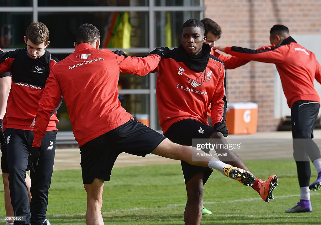 <a gi-track='captionPersonalityLinkClicked' href=/galleries/search?phrase=Sheyi+Ojo&family=editorial&specificpeople=12319409 ng-click='$event.stopPropagation()'>Sheyi Ojo</a> of Liverpool during a training session at Melwood Training Ground on February 12, 2016 in Liverpool, England.