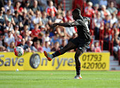 Sheyi Ojo of Liverpool scoring the second for Liverpool during a preseason friendly at County Ground on August 2 2015 in Swindon England