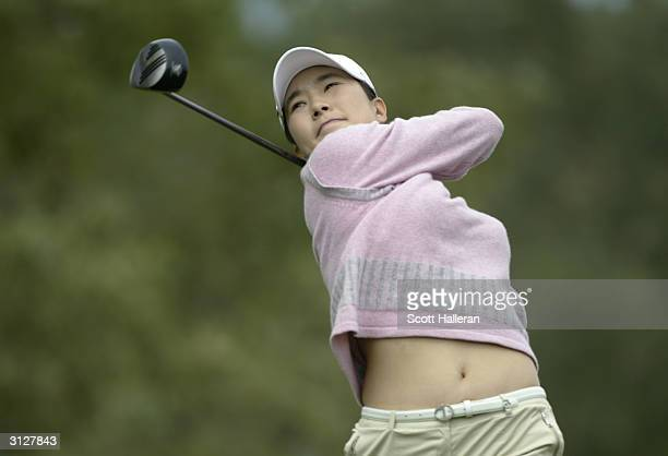 Shi Hyun Ahn hits a shot during the third round of the Welch's/Fry's Championship at the Randolph Park Golf Complex on March 13 2004 in Tucson Arizona