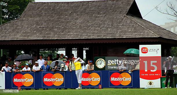 Shi Hyun Ahn of Korea Republic plays her tee shot on the 15th hole during the Final Round of the Sime Darby LPGA on October 24 2010 at the Kuala...