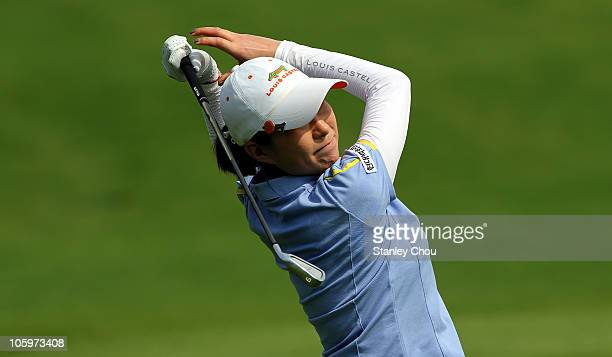 Shi Hyun Ahn of Korea Republic watches her 2nd shot on the 1st hole during Round Two of the Sime Darby LPGA on October 23 2010 at the Kuala Lumpur...