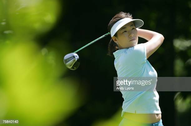 Shi Hyun Ahn of South Korea hits her tee shot on the 3rd hole during the third round of The Evian Masters on July 28 2007 in Evian France
