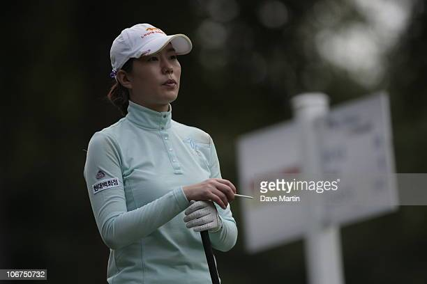 Shi Hyun Ahn of South Korea waits to tee off on the 11th hole during first round play in Bell Micro LPGA Classic at the Magnolia Grove Golf Course on...