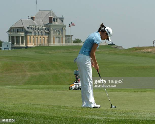 Shi Hyun Ahn putts on the 10th green during the second round of the 2006 US Women's Open at the Newport Country Club in Newport Rhode Island July 1...