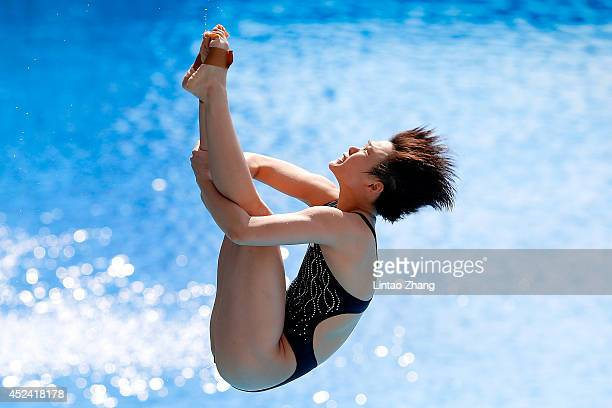 Shi Tingmao of China competes in the Women's 3m Springboard Final during day six of the 19th FINA Diving World Cup at the Oriental Sports Center on...