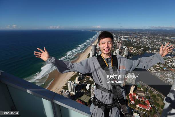 Shi Yuqi of China poses on the Skydeck walk at the Skypoint Observation Deck on May 22 2017 in Gold Coast Australia Today Badminton champion SHI Yuqi...