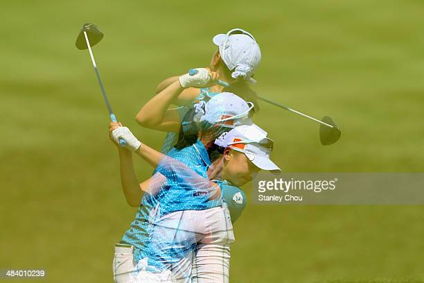 Shi Yuting of China in actions during day three stroke play of the Queen Sirikit Cup of Golf on April 11 2014 at the Saujana Golf and Country Club in...