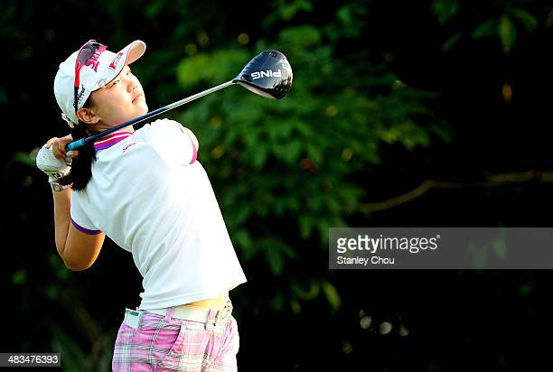 Shi Yuting of China tees off on the 2nd hole during day one of the team stroke play of the Queen Siriki Cup of Golf on April 9 2014 at Saujana Golf...