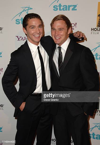 Shia LaBeouf and Brian Geraghty during Hollywood Film Festival 10th Annual Hollywood Awards Arrivals at The Beverly Hilton Hotel in Beverly Hills...