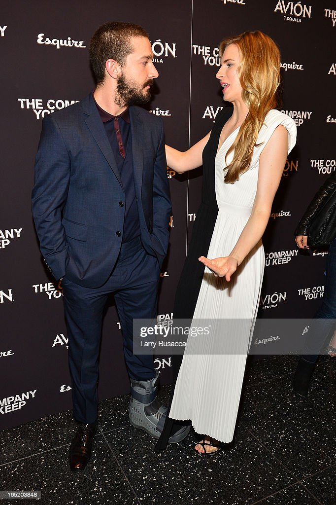 Shia LaBeouf and Brit Marling attend 'The Company You Keep' New York Premiere at The Museum of Modern Art on April 1, 2013 in New York City.