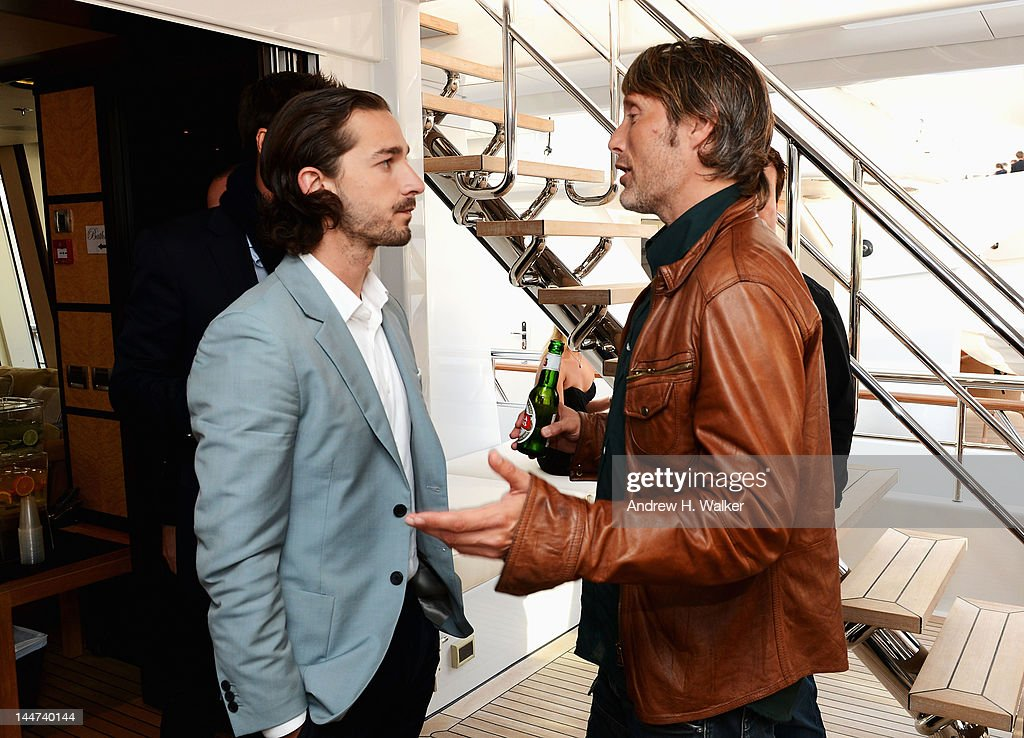 Shia LaBeouf and <a gi-track='captionPersonalityLinkClicked' href=/galleries/search?phrase=Mads+Mikkelsen&family=editorial&specificpeople=3003791 ng-click='$event.stopPropagation()'>Mads Mikkelsen</a> attend the Voltage Pictures sales party for 'Necessary Death of Charlie Countryman' with Stella Artois and Belvedere aboard M/Y Harle during the 65th Annual Cannes Film Festival on May 18, 2012 in Cannes, France.