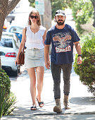 Shia LaBeouf and Mia Goth are seen in Hollywood on August 30 2014 in Los Angeles California