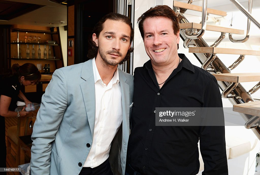 Shia LaBeouf and Michael Saylor attend the Voltage Pictures sales party for 'Necessary Death of Charlie Countryman' with Stella Artois and Belvedere aboard M/Y Harle during the 65th Annual Cannes Film Festival on May 18, 2012 in Cannes, France.