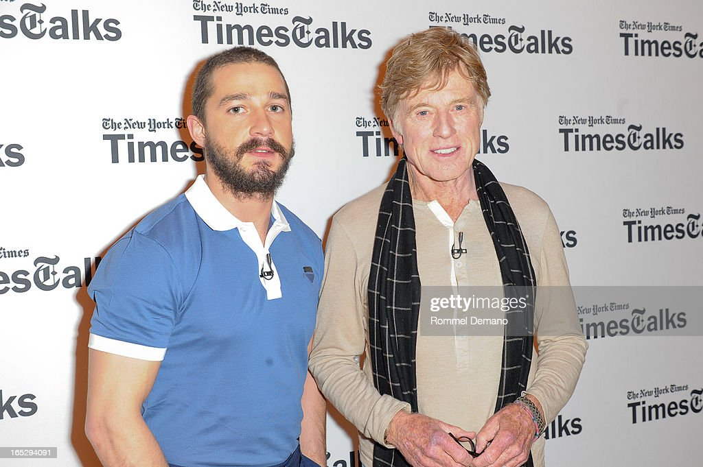 Shia LaBeouf and Robert Redford attend the TimesTalks Presents: 'The Company You Keep' at TheTimesCenter on April 2, 2013 in New York City.