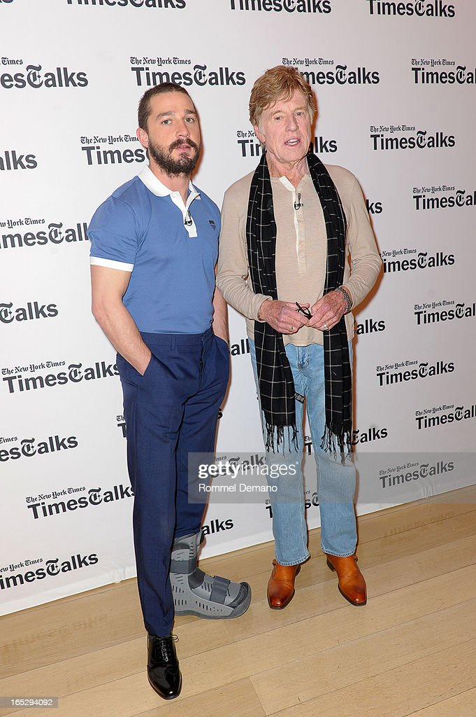 Shia LaBeouf and <a gi-track='captionPersonalityLinkClicked' href=/galleries/search?phrase=Robert+Redford&family=editorial&specificpeople=202897 ng-click='$event.stopPropagation()'>Robert Redford</a> attend the TimesTalks Presents: 'The Company You Keep' at TheTimesCenter on April 2, 2013 in New York City.