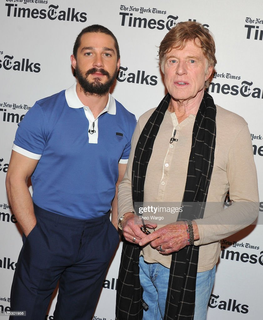 Shia LaBeouf and <a gi-track='captionPersonalityLinkClicked' href=/galleries/search?phrase=Robert+Redford&family=editorial&specificpeople=202897 ng-click='$event.stopPropagation()'>Robert Redford</a> attend TimesTalks Presents: 'The Company You Keep' at TheTimesCenter on April 2, 2013 in New York City.