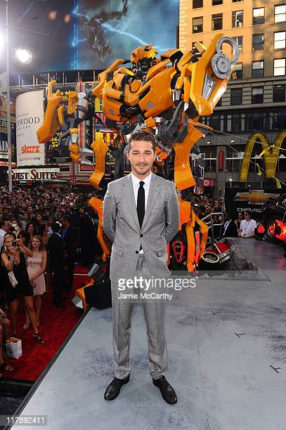 Shia LaBeouf attends the 'Transformers Dark Of The Moon' premiere in Times Square on June 28 2011 in New York City
