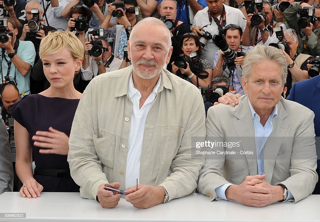 Shia LaBeouf, Carey Mulligan, Franck Langella, Michael Douglas, Oliver Stone and Josh Brolin at the photocall for 'Wall street : Money never sleeps' during the 63rd Cannes International Film Festival.